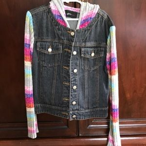 Other - Jean jacket with sweater sleeves
